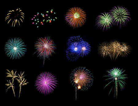 Twelve colorful fireworks on black background Stock Photo
