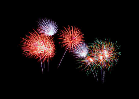 Colorful exploded fireworks display,  isolated on black background