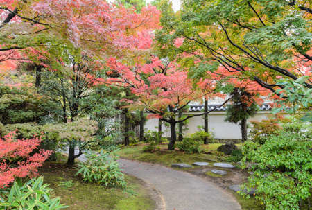 Traditional Japanese  garden of Kokoen during autumn season in Himeji, Japan
