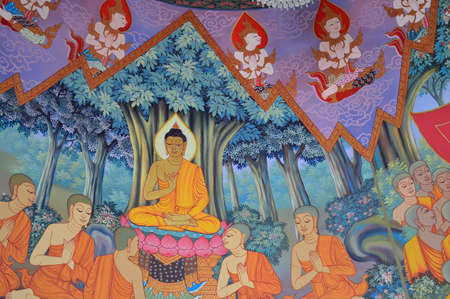 Buddha s biography painting on wall of temple, wat kiriwong nakhonsawan thailand