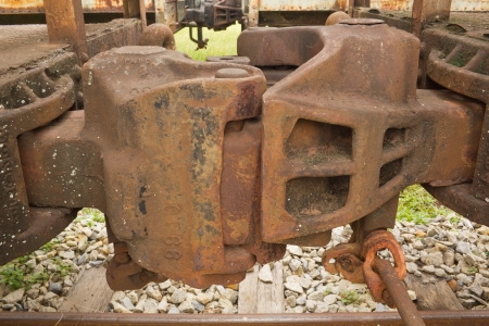 coupling: Closeup of Railroad freight train couplings