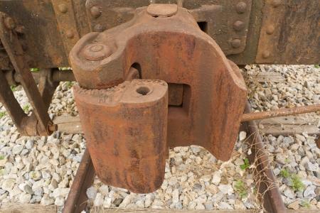 boxcar train: Closeup of Railroad freight train couplings