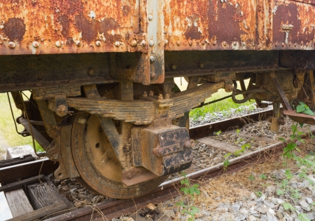 motionless: Closeup of the old rusty train wheels