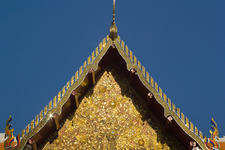 gabled: Thai traditional decoration roof of Wat Phumin  temple Stock Photo