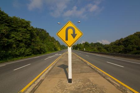 u turn: U-Turn Roadsign Stock Photo