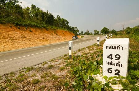 milestone: milestone on the road Stock Photo
