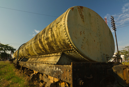 bogie: Old Bogie Oil Tank Wagon (BOT.) Stock Photo