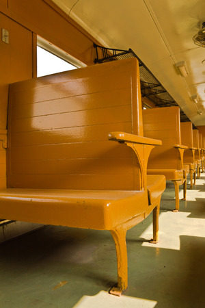 bogie: Wooden benches of tradition Bogie Third Class Carriage train Stock Photo