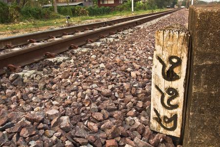 milestone: Wooden railway milestone number 488 Stock Photo
