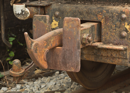coupling: Vintage hook and link train coupling joint Stock Photo