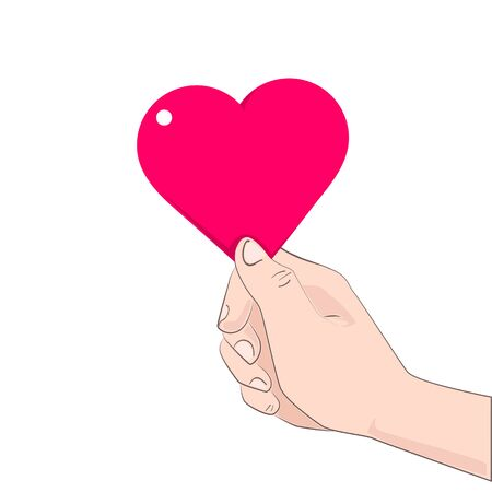 catroon: Hand give heart vector illustration