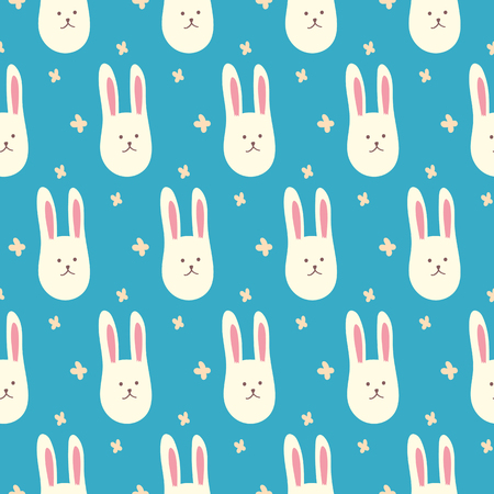 Cute bunnies. Seamless pattern illustration
