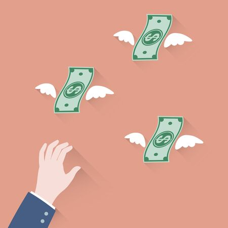 money flying: Hand businessman trying to grab Money Flying Away
