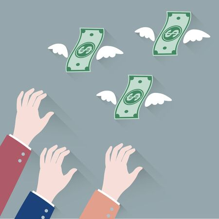 dinero volando: Hombre de negocios de la mano tratando de agarrar dinero Flying Away Vectores