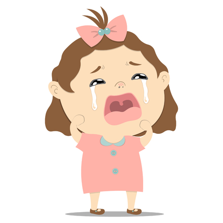 sad little cute baby girl crying on white background illustration