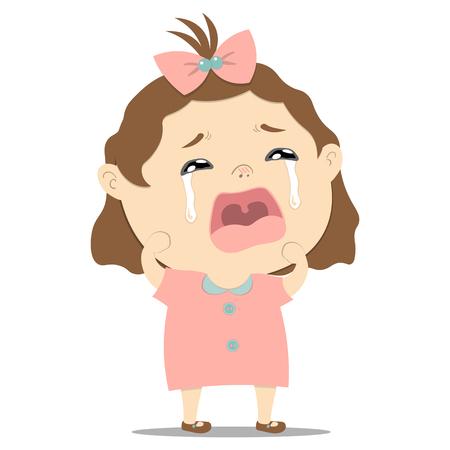 sad little cute baby girl crying on white background illustration
