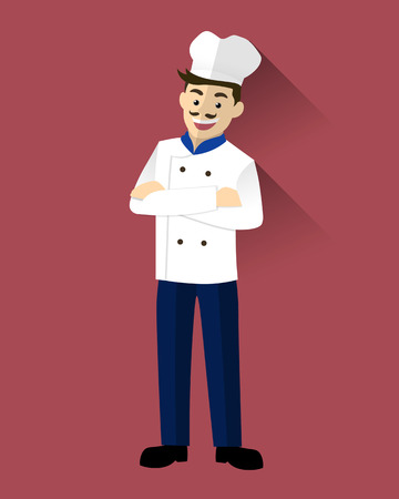 culinary skills: Mustache professional chefs. Chefs with arms crossed vector Illustration