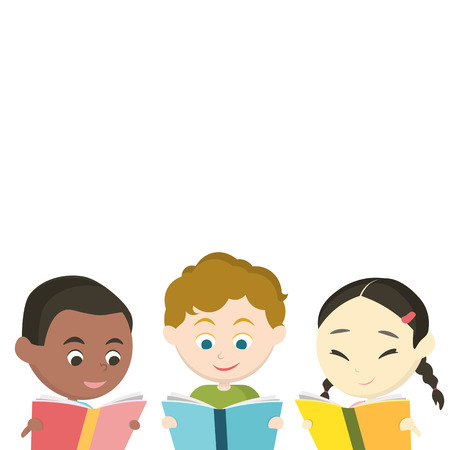school book: Cute Children reading book vector Illustration