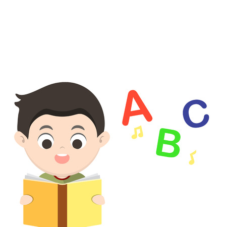 spelling book: Children reading book A B C vector