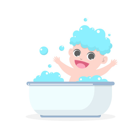lather: Cute baby having bath in a bathtub with soap suds on hair vector