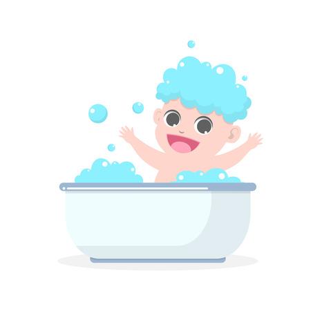 Cute baby having bath in a bathtub with soap suds on hair vector