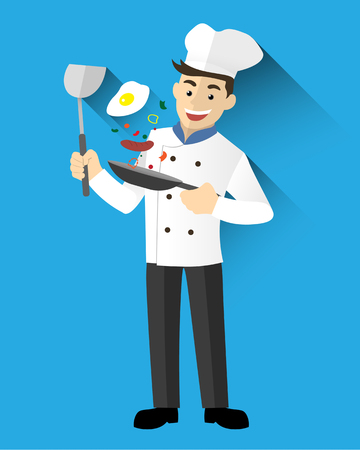 Chef man vliegen pan.Cute Character vector illustratie.