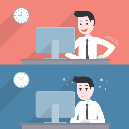 get tired: Office worker businessman activity,happy and get tired,sleepy when while working with his computer Illustration