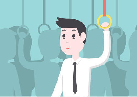tried: Office worker businessman get tried and boredon on public transport Illustration