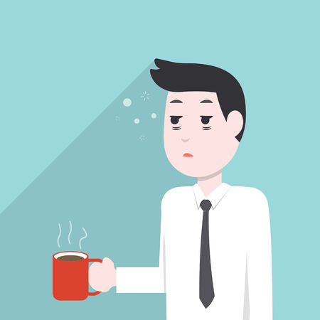 very sleepy and tired business man, holding a coffee mug. Vector illustration