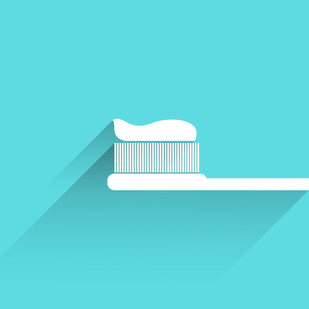 paste: Tooth brush and paste icon with long shadow, isolated,Flat design modern vector illustration Illustration