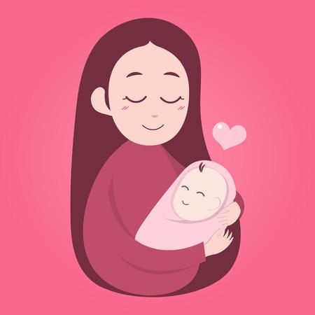 trẻ sơ sinh: Mẹ ôm bé dễ thương. ngày hạnh phúc của các bà mẹ. Hình minh hoạ