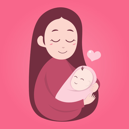 Mother holding cute baby. Happy Mothers' day.