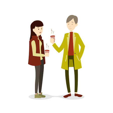 hot couple: Couple in winter season drinking hot  beverage, illustration