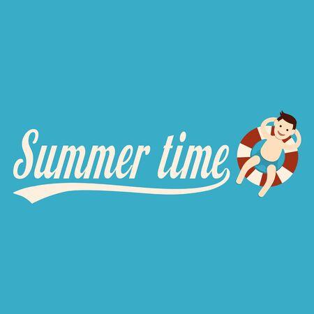 lifebelt: Man relaxing with lifebelt, Summertime, illustration. Illustration