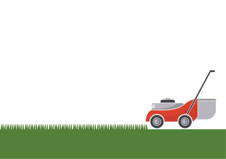 Lawn mower cutting grass with isolated background, illustration