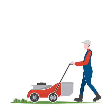 grass: Lawn mower man cutting grass, Backyard jobs, illustration.