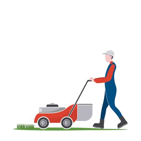 Tondeuse homme couper l'herbe, les travaux d'arrière-cour, illustration. Vecteurs