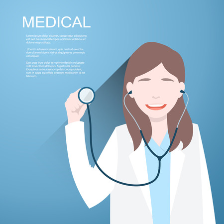 general insurance: Doctor women with a stethoscope in the hands on  background.