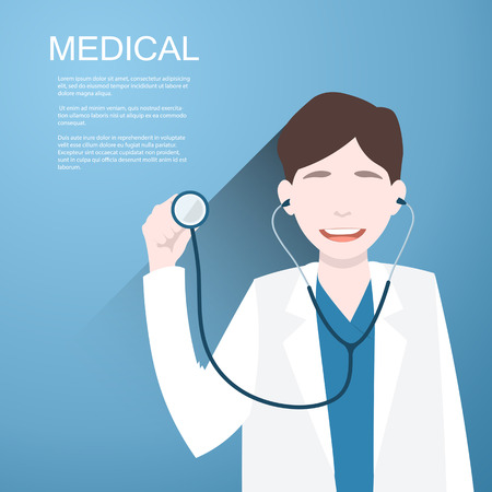 profile measurement: Doctor with a stethoscope in the hands on  background.