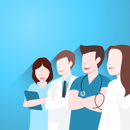 medical team: Doctors group, Happy medical team Illustration