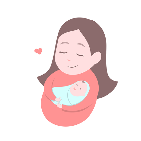 mother holding baby: Mother holding cute baby. Happy Mothers day. Vector illustration