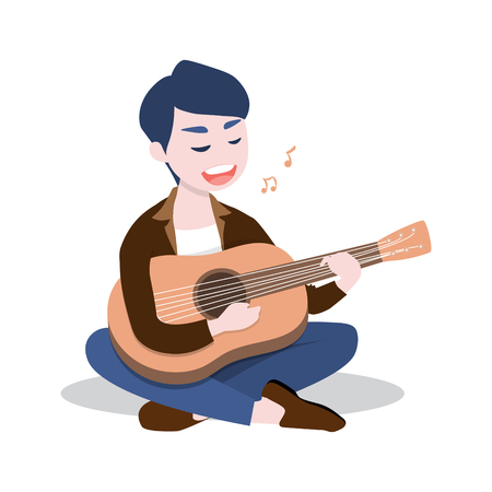 Happy young man playing the guitar and sing a song, Isolated on white background, Vector illustration.