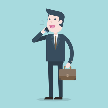 Business man talking on phone,  illustration. Illustration