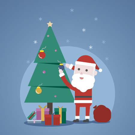 Christmas winter concept, Cute Santa clauss decorating a christmas tree,  illustration.