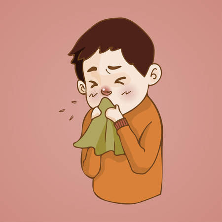 Sick man  has runny nose, caught cold. sneezing into Tissue, flu, Allergy season, Vector illustration.