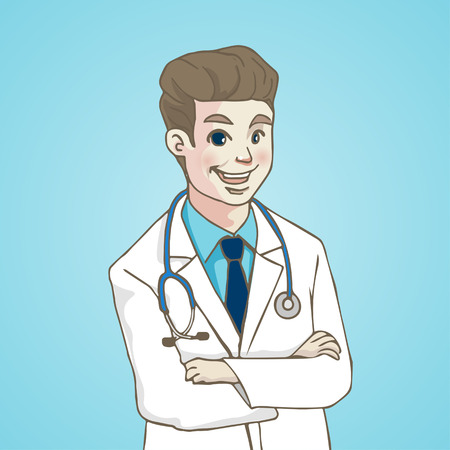Smiling Portrait Doctor with stethoscope, character cartoon, VECTOR ILLUSTRATION.