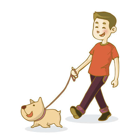 Young man walking dog, isolated on white background, vector illustration