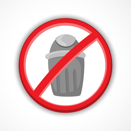 Crossed Out Trash can icon, bin sign, garbage, do not throw, vector illustration.
