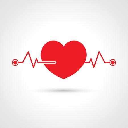 Cardiogram  heart icon rhythm, Vector Illustration.