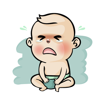 Crying baby boy cute cartoon, Vector illustration.